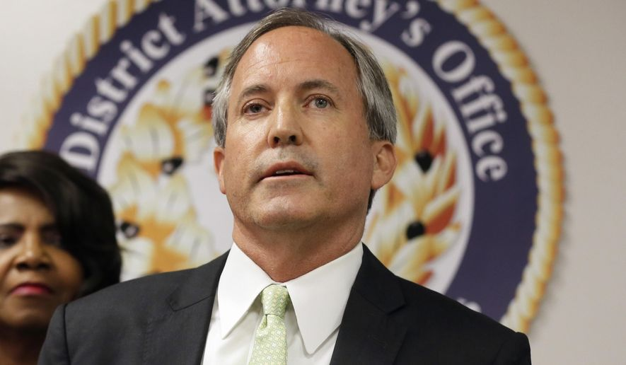 FILE - In this June 22, 2017 file photo, Texas Attorney General Ken Paxton speaks at a news conference in Dallas. Three years ago, criminal charges against Paxton appeared to put his political future in peril. But the Republican enters November's midterm elections favored to win a second a term while remaining under indictment. (AP Photo/Tony Gutierrez, File)