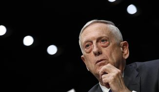 """FILE - In this April 26, 2018 file photo, U.S. Defense Secretary Jim Mattis listens to a question on the Department of Defense budget posture during a Senate Armed Services Committee hearing on Capitol Hill in Washington. The killing of journalist Jamal Khashoggi """"undermines regional stability"""" and the U.S. State Department plans to take further action in response to the killing, Mattis said Saturday, Oct. 27, 2018, at an international conference in the Middle East. (AP Photo/Jacquelyn Martin, File)"""