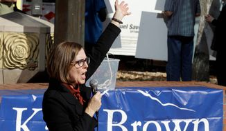 Oregon Gov. Kate Brown, a Democrat running for re-election, has been receiving campaign contributions since 2008 from the Cow Creek Tribe, which has a virtual monopoly on gambling on the heavily traveled Interstate 5 corridor and runs a North Bend casino. (Associated Press)