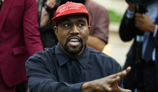 Rapper Kanye West speaks during a meeting in the Oval Office of the White House with President Donald Trump, Thursday, Oct. 11, 2018, in Washington. (AP Photo/Evan Vucci)