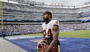 Washington Redskins Josh Norman leaves the field before the start of an NFL football game against the New York Giants, Sunday, Oct. 28, 2018, in East Rutherford, N.J. (AP Photo/Seth Wenig) **FILE**