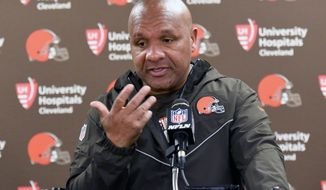 Cleveland Browns coach Hue Jackson meets with reporters after an NFL football game against the Pittsburgh Steelers in Pittsburgh, Sunday, Oct. 28, 2018. The Steelers won 33-18. (AP Photo/Gene J. Puskar) ** FILE **