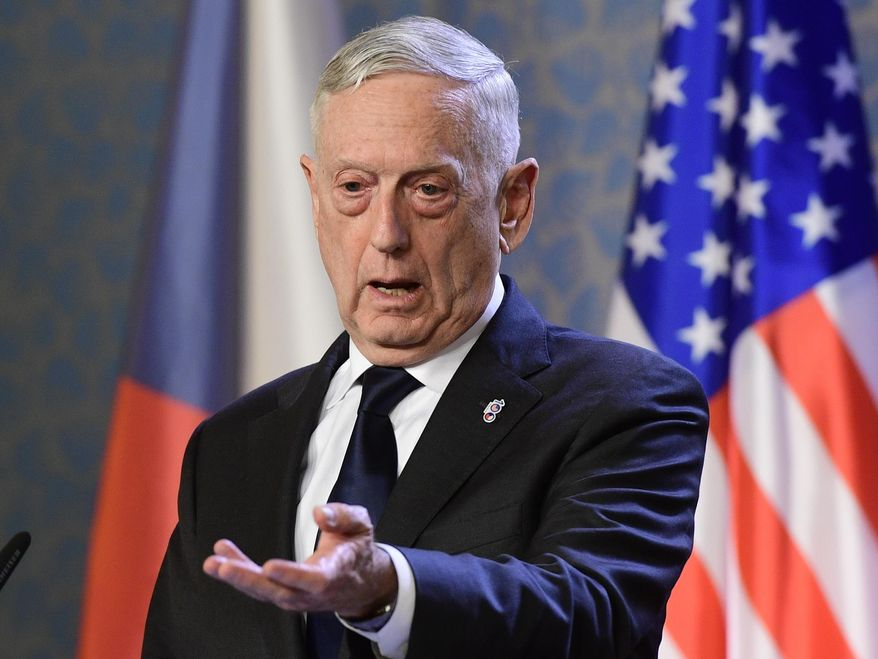 U.S. Defense Secretary Jim Mattis, talks to journalists during a press conference with Czech Prime Minister Andrej Babis, not shown, in Prague, Czech Republic, Sunday, Oct. 28, 2018. Mattis arrives in Prague to mark the 100th anniversary of the 1918 creation of the Czechoslovak state. (Roman Vondrous/CTK via AP)