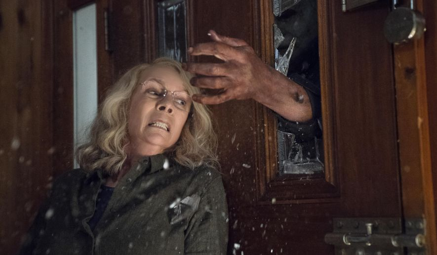 """Jamie Lee Curtis appears in a scene from """"Halloween"""" in this image released by Universal Pictures. (Ryan Green/Universal Pictures via AP) * FILE*"""