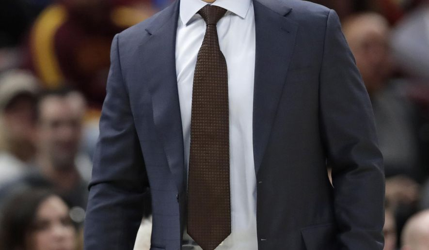 Cleveland Cavaliers head coach Tyronn Lue yells instructions to players in the first half of an NBA basketball game against the Indiana Pacers, Saturday, Oct. 27, 2018, in Cleveland. (AP Photo/Tony Dejak)
