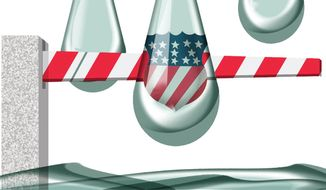 Illustration on emotion and law in the immigration issue by Alexander Hunter/The Washington Times