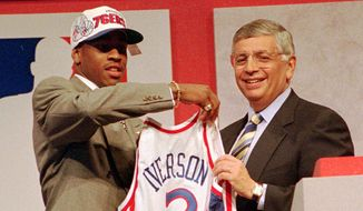 9. Allen Iverson, 1996 Philadelphia 76ers (Georgetown)      Allen Iverson, left, of Georgetown holds up a jersey with NBA commissioner David Stern after being selected as the number one pick in the 1996 NBA draft by the Philadelphia 76ers Wednesday night, June 26, 1996, in East Rutherford, N.J.  (AP Photo/Ron Frehm)  **FILE**