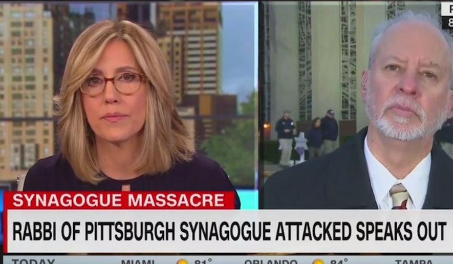 CNN's Alisyn Camerota interviews Tree of Life Rabbi Jeffrey Myers, Oct. 29, 2018. (Image: CNN screenshot)