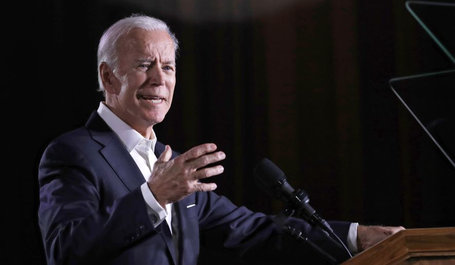 Former Vice President Joe Biden speaks at the Kilcawley Center at Youngstown State University, Monday, Oct. 29, 2018, in Youngstown, Ohio. Biden was in Ohio campaigning for Democratic gubernatorial candidate Richard Cordray. (AP Photo/Tony Dejak)