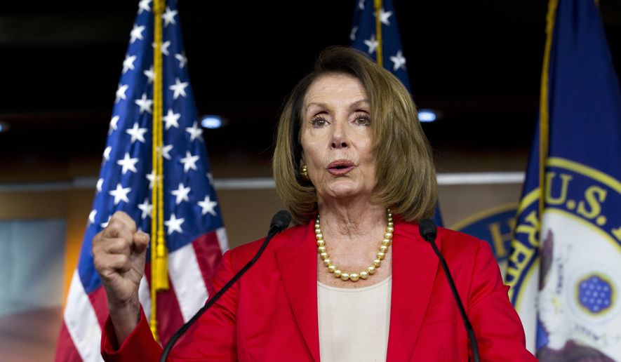 In this Sept. 6, 2018, file photo. House Minority Leader Nancy Pelosi, D-Calif., speaks during her weekly news conference on Capitol Hill in Washington. (AP Photo/Jose Luis Magana, File)