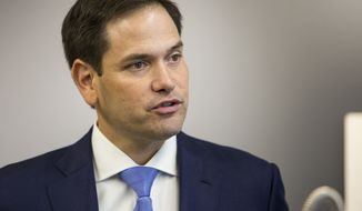 U.S. Sen. Marco Rubio speaks to reporters about his support for U.S. Rep. Peter Roskam during a news conference at Elkay Manufacturing in Oak Brook, Ill., Monday, Oct. 29, 2018. (Ashlee Rezin/Chicago Sun-Times via AP) ** FILE **