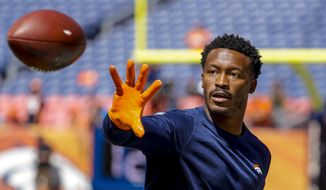 "In this Sept. 9, 2018 photo Denver Broncos wide receiver Demaryius Thomas (88) catches a pass before an NFL football game against the Seattle Seahawks in Denver. Thomas is bracing for a trade after Denver slipped to 3-5 midway through his ninth NFL season. Thomas, the Broncos' longest-tenured player, put the odds at ""50-50"" that he'll be summoned into general manager John Elway's office by the trade deadline Tuesday, Oct. 30, 2018 to learn whose jersey he'll be wearing next. (AP Photo/Jack Dempsey) **FILE**"