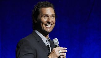 "FILE - In this April 23, 2018 file photo, Matthew McConaughey, a cast member in the upcoming film ""White Boy Rick,"" speaks during the Sony Pictures Entertainment presentation at CinemaCon 2018 in Las Vegas. Firefighters, police officers and 911 operators in Houston got a surprise from a famous local as McConaughey delivered a catered lunch as way to give thanks on National First Responders Day. (Photo by Chris Pizzello/Invision/AP, File)"