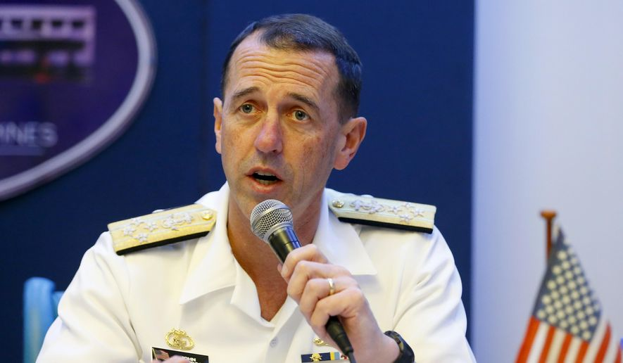 """Chief of Naval Operations Adm. John M. Richardson is accused of exerting """"undue command influence."""" (Associated Press/File)"""