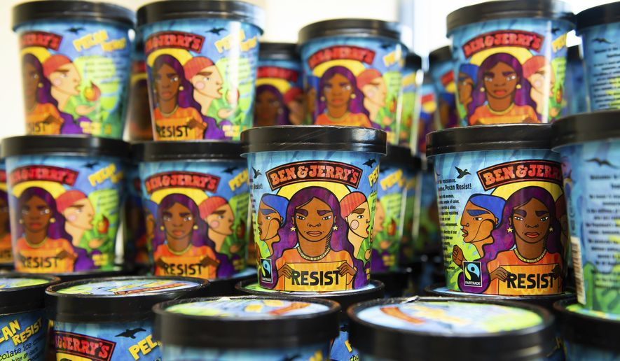 Ben & Jerry's new Pecan Resist flavor is available online and in participating Scoop Shops. The flavor launches on Tuesday, Oct. 30, 2018, in Washington. (Joy Asico/AP Images for Ben & Jerry's)