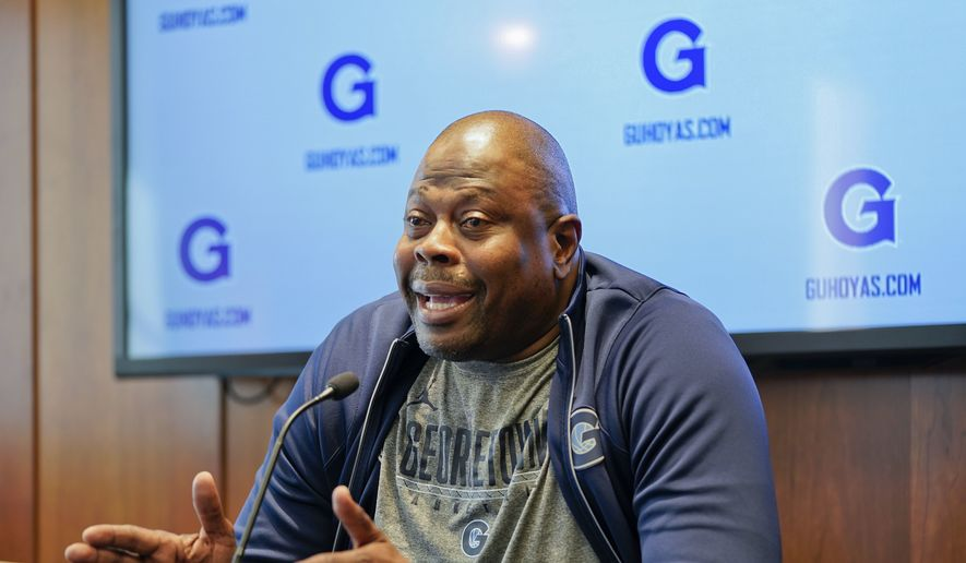 Georgetown University men's basketball head coach Patrick Ewing speaks about the upcoming season during a news conference at Georgetown University, Tuesday, Oct. 30, 2018, in Washington. (AP Photo/Pablo Martinez Monsivais) **FILE**