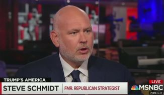 "MSNBC contributor Steve Schmidt told an ""All In"" audience that conservative radio hosts like Rush Limbaugh and Mark Levin have ""blood on their hands"" when ""crazy people"" resort to violence. (Image: MSNBC screenshot)"