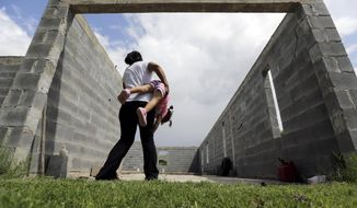 FILE - In this Sept. 16, 2015 photo, in Sullivan City, Texas, a woman who is in the country illegally plays with her 2-year-old daughter who was born in the in the United States but was denied a birth certificate. Lawyers for immigrant families denied birth certificates for their U.S.-born children by Texas health officials who refuse to recognize as valid certain forms of identification will argue for a federal judge to intervene against the state. U.S. citizenship through birth comes via the 14th Amendment, which was ratified after the Civil War to secure U.S. citizenship for newly freed black slaves. It later was used to guarantee citizenship to all babies born on U.S. soil after court challenges. (AP Photo/Eric Gay, File)