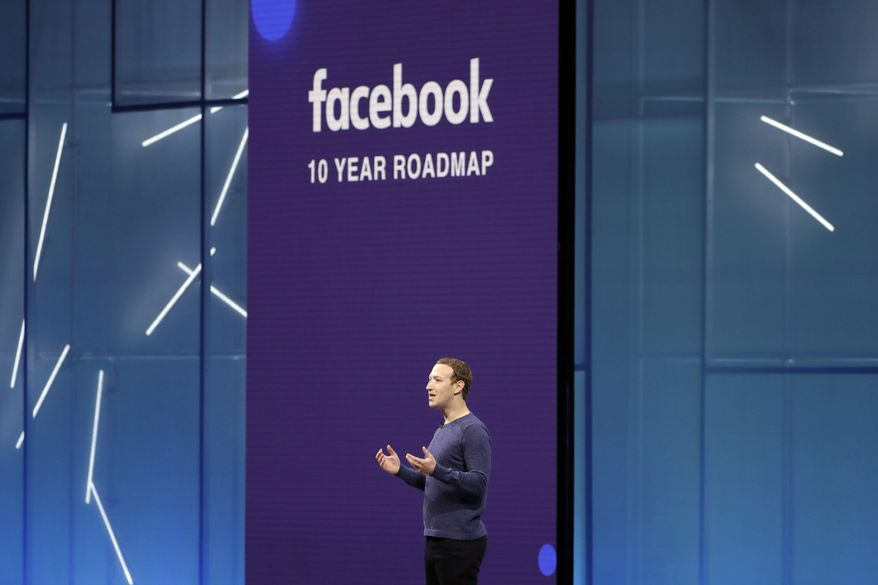 FILE- In this May 1, 2018, file photo Facebook CEO Mark Zuckerberg makes the keynote speech at F8, Facebook's developer conference in San Jose, Calif. Facebook Inc. reports earnings Tuesday, Oct. 30. (AP Photo/Marcio Jose Sanchez, File)