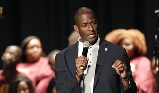 Democratic candidate for Florida governor Andrew Gillum speaks to students and supporters at Bethune-Cookman University, Friday, Oct. 26, 2018, in Daytona Beach, Fla. (AP Photo/John Raoux)
