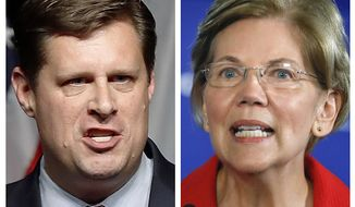 FILE - This pair of 2018 file photos show Republican Geoff Diehl, left, and Democrat U.S. Sen. Elizabeth Warren from Massachusetts. Diehl is challenging Warren in the November general election. (AP Photos, File)
