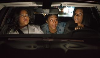"This image released by Paramount Pictures shows Amber Riley, from left, Tiffany Haddish and Tika Sumpter in a scene from ""Nobody's Fool."" (Chip Bergmann/Paramount Pictures via AP)"