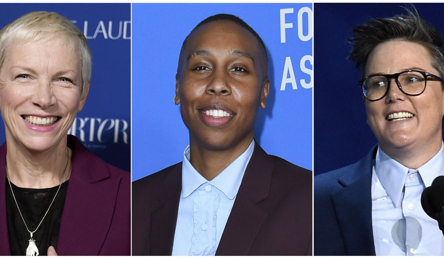 This combination photo shows Annie Lennox at Porter's 3rd Annual Incredible Women Gala in Los Angeles on Oct. 9, 2018, left, Lena Waithe  at the Hollywood Foreign Press Association Grants Banquet in Beverly Hills on Aug. 9, 2018, center, and Hannah Gadsby at the 70th Primetime Emmy Awards in Los Angeles on Sept. 17, 2018. The three are headlining a movie academy lunch celebrating a new initiative to advance the careers of female filmmakers. (Photo by Chris Pizzello/Invision/AP)
