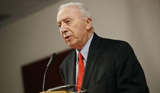 James Brady, chairman of the University System of Maryland Board of Regents, speaks at a news conference to announce the board's recommendation that football head coach DJ Durkin retain his job, Tuesday, Oct. 30, 2018, in Baltimore. Durkin has been on paid administrative leave since August, following the death of a player who collapsed during practice and an investigation of bullying by the Maryland coaching staff. (AP Photo/Patrick Semansky) ** FILE **