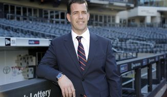 New York Mets new general manager Brodie Van Wagenen poses at CitiField Tuesday, Oct. 30, 2018, in New York. (AP Photo/Frank Franklin II)