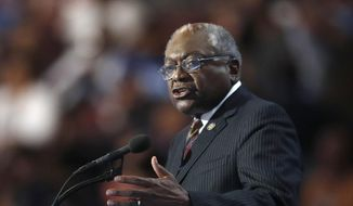 In a Thursday, July 28, 2016, file photo, Rep. James Clyburn, D-S.C., speaks during the final day of the Democratic National Convention in Philadelphia. (AP Photo/Paul Sancya, File)
