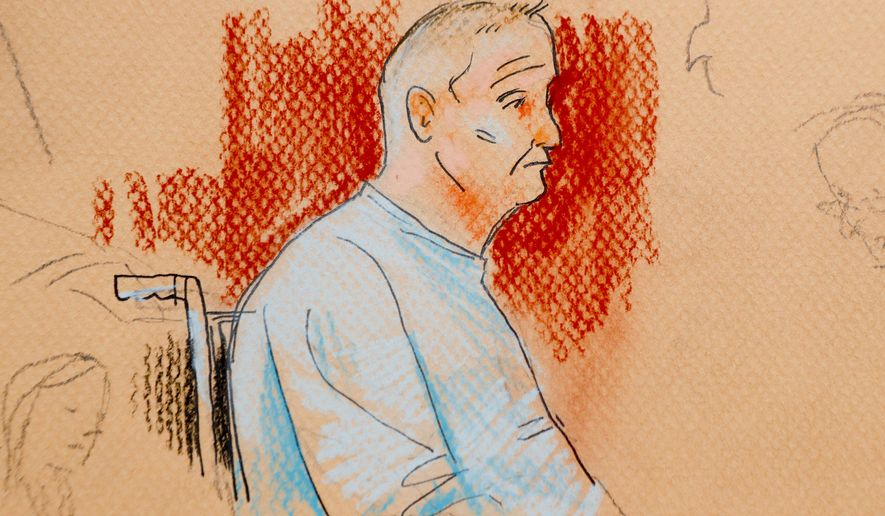 This courtroom sketch depicts Robert Gregory Bowers, who was wounded in a gun battle with police as he appeared in a wheelchair at federal court on Monday, Oct. 29, 2018, in Pittsburgh. Bowers, accused in the Pittsburgh synagogue massacre, appeared briefly in federal court in a wheelchair and handcuffs to face charges he killed 11 people. If foreign citizens had mailed pipe bombs to prominent Democrats, or massacred Jews in a synagogue, there's a good chance they would have been charged with terrorism. But that won't happen with either of the men charged in the recent wave of mail bombs and the Pittsburgh shootings. That's because there's no domestic terrorism law. (Dave Klug via AP)