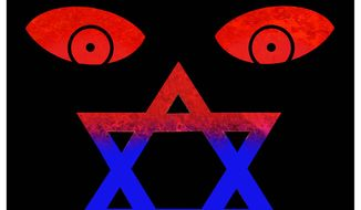 Illustration on anti-Semitism by Alexander Hunter/The Washington Times