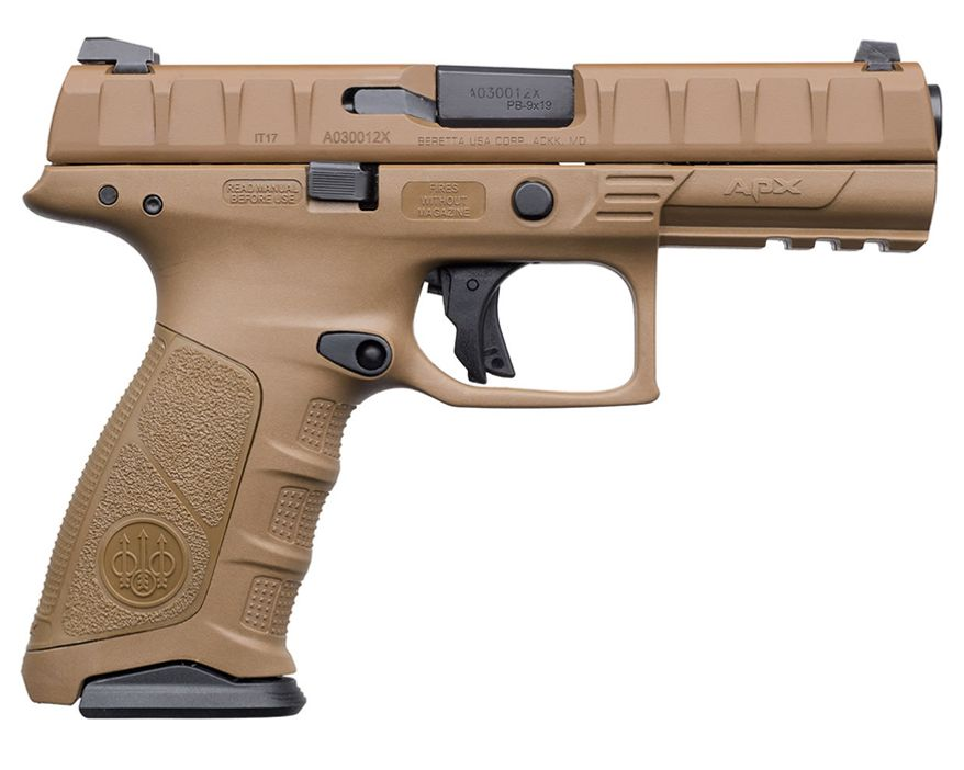 Beretta APX FDE is a service-grade pistol featuring a modular frame allowing for costumization to fit your hands. Its 6-pound trigger provides both an audible and tactile short reset. The gun has an overall length of 8.5 inches and an unloaded weight of 33.3 ounces