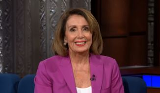 """House Minority Leader Nancy Pelosi discusses the upcoming midterm elections with comedian Stephen Colbert, Oct. 30, 2018. (Image: YouTube, """"The Late Show with Stephen Colbert"""" screenshot)"""