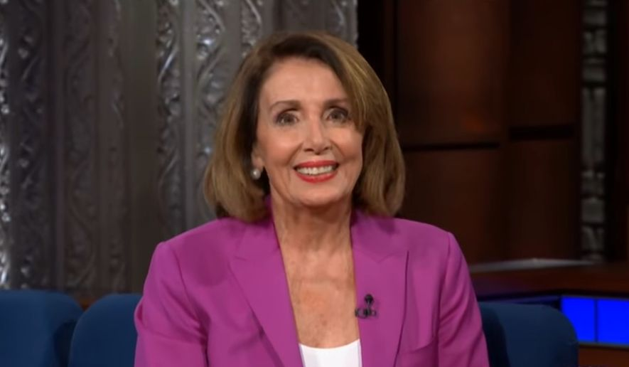 "House Minority Leader Nancy Pelosi discusses the upcoming midterm elections with comedian Stephen Colbert, Oct. 30, 2018. (Image: YouTube, ""The Late Show with Stephen Colbert"" screenshot)"