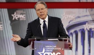 In this Thursday, Feb. 22, 2018, file photo, National Rifle Association Executive Vice President and CEO Wayne LaPierre, speaks at the Conservative Political Action Conference (CPAC), at National Harbor, Md.  (AP Photo/Jacquelyn Martin, File)