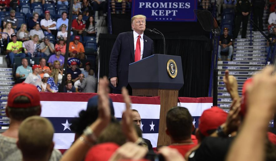 President Donald Trump speaks during a rally in Estero, Fla., Wednesday, Oct. 31, 2018. Trump is campaigning for Florida Republican Gov. Rick Scott, who is challenging incumbent Democratic Sen. Bill Nelson for a seat in the Senate.  (AP Photo/Susan Walsh)