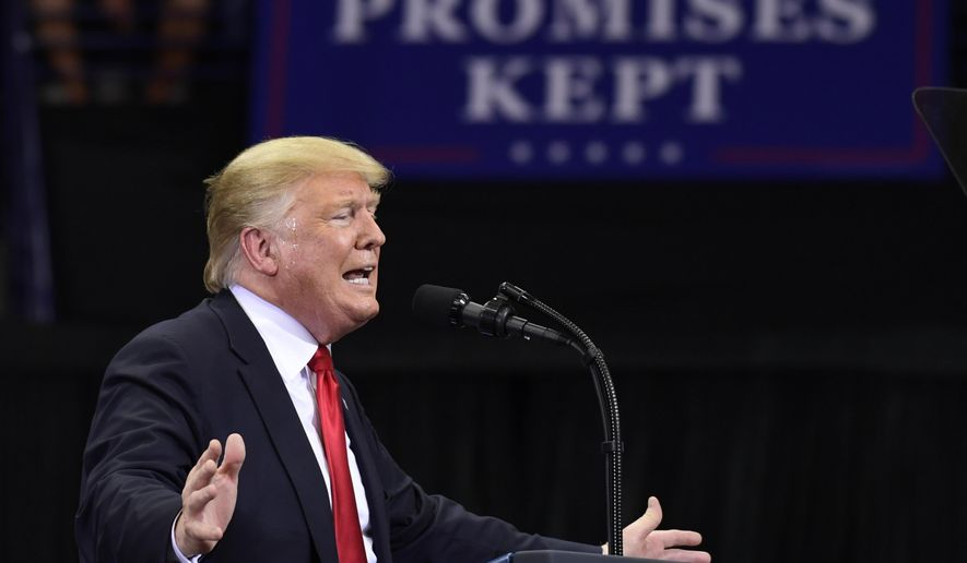 President Donald Trump speaks during a rally in Estero, Fla., Wednesday, Oct. 31, 2018. (AP Photo/Susan Walsh)
