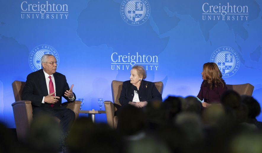 Former Secretaries of State Dr. Madeleine Albright and Gen. Colin Powell, USA (Ret.), left, are interviewed by CNN correspondent Suzanne Malveaux on Tuesday Oct 30, 2018, in Omaha, Neb. The two say they're horrified by the anger, tribalism and distortions that stain politics today.(Kent Sievers/The World-Herald via AP)