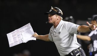 FILE - In this Sept. 10, 2018, file photo, Oakland Raiders head coach Jon Gruden gestures on the sidelines during the second half of an NFL football game against the Los Angeles Rams, in Oakland, Calif. The San Francisco 49ers (1-7) host Gruden and the Raiders (1-6) on Thursday, Nov. 1. (AP Photo/John Hefti, File)