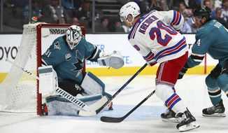 New York Rangers' Chris Kreider (20) takes a shot against San Jose Sharks goalie Martin Jones during the first period of an NHL hockey game, Tuesday, Oct. 30, 2018, in San Jose, Calif. At right is Sharks' Brenden Dillon (4). (AP Photo/Ben Margot)
