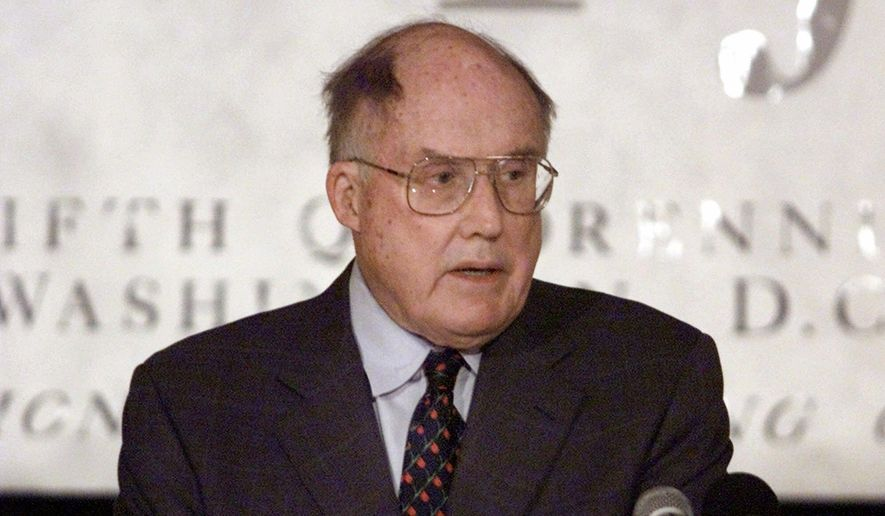 """In this May 8, 2001, file photo, Chief Justice of the United States William Rehnquist addresses a meeting of the Federal Justices Association in Arlington, Va. NPR's """"Morning Edition"""" reports author Evan Thomas found  Rehnquist's letter to Sandra Day O'Connor while researching his upcoming book, """"First."""" The two dated while students at Stanford Law School in the early 1950s. They had broken up, but remained friends. Rehnquist graduated and in a March 29 letter, wrote: """"To be specific, Sandy, will you marry me this summer?"""" She said no. (AP Photo/Hillery Smith Garrison, File)"""