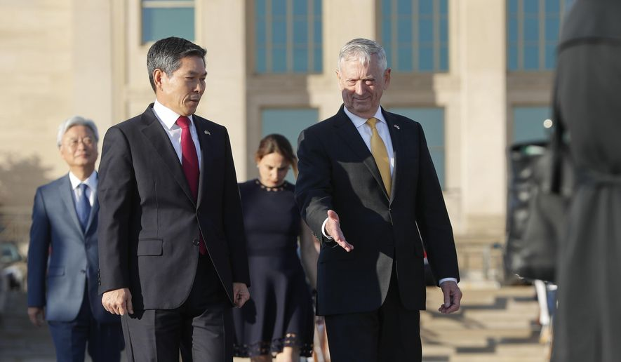 Defense Secretary Jim Mattis, right, and South Korea Minister of Defense Jeong Kyeong-doo, left, arrive to begin co-hosting the 2018 Security Consultative at the Pentagon, Wednesday, Oct. 31, 2018. (AP Photo/Pablo Martinez Monsivais)