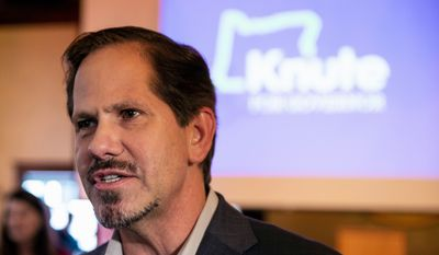 Republican gubernatorial candidate Knute Buehler is challenging incumbent Democratic Gov. Kate Brown. Ms.  Brown is seekng her first full term. (Associated Press)
