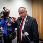 Congressman Steve King speaks to the media before his candidate forum at the Greater Des Moines Partnership office in Des Moines, Iowa, Thursday, Nov. 1, 2018. (Bryon Houlgrave/The Des Moines Register via AP)