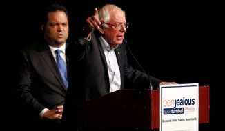 """Let us be honest and clear: If there is a low voter turnout this election in Maryland, Larry Hogan will be re-elected,"" said Sen. Bernard Sanders, Vermont independent, in support of gubernatorial candidate Ben Jealous. (Associated Press)"