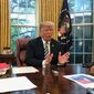 """Pelosi says she's going to mechanize the speakership and use it as a great negotiation with the president. That's an illegal statement,"" Mr. Trump said in an exclusive interview with The Washington Times. (Dave Boyer/The Washington Times)"
