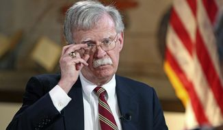 United States National Security Adviser John Bolton talks to the Miami Herald  on Latin American policy at the National Historic Landmark Miami Freedom Tower on Thursday, November 1, 2018.   (Emily Michot/Miami Herald via AP)