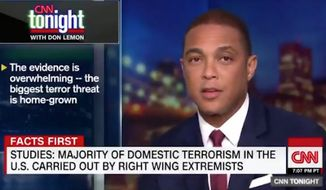 "CNN anchor Don Lemon is doubling down on calling white men the ""biggest terror threat"" in America, claiming on his show Wednesday night that the ""cold hard facts"" back him up. (CNN) ** FILE **"