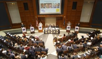 Candidates for governor of New York from left, Green Party Howie Hawkins, Independent Stephanie Miner, Moderator Laura Ladd Bierman, Libertarian Larry Sharpe, and Republican Marc Molinaro, participate in the last scheduled debate before election day sponsored by the League of Women Voters at The College of Saint Rose Thursday, Nov. 1, 2018, in Albany, N.Y. Democratic Gov. Andrew Cuomo did not take part in the debate. (AP Photo/Hans Pennink)